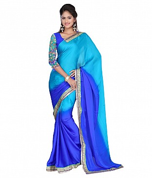 Style Sensus Blue Faux Georgette Saree @ Rs2265.00
