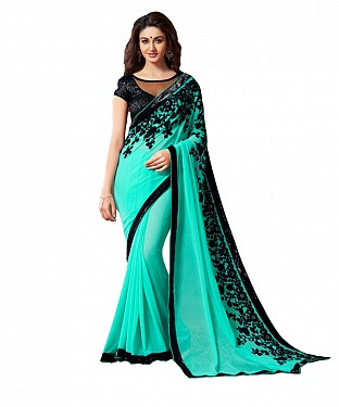 Beautiful Turquoise Embroidery Georgette Saree @ Rs679.00