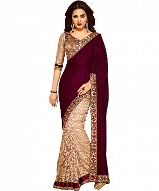 Beautiful Maroon Embroidery  Net  Saree @ Rs1112.00