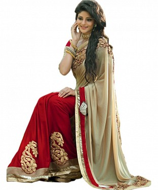 Beautiful Red and Chiku Embroidery Georgette Saree @ Rs804.00