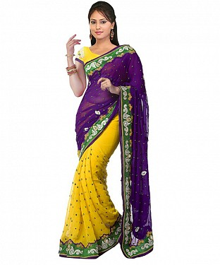 Beautiful Yellow and Purple Embroidery Chiffon Saree @ Rs927.00