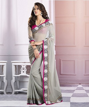 Beautiful Grey Embroidery Georgette Saree @ Rs864.00