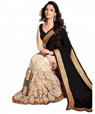Beautiful Black Embroidery Georgette Saree @ Rs864.00