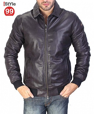 Blue Gents Leather Jacket @ Rs6484.00