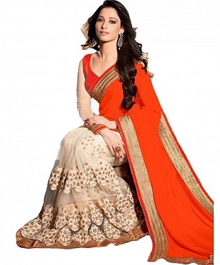 Beautiful Orange Embroidery Georgette Saree @ Rs864.00