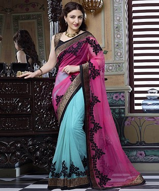 Beautiful Blue and Pink Embroidery  Net Saree @ Rs1088.00