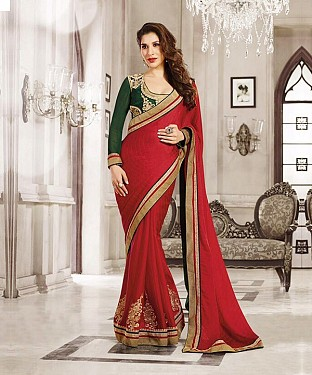 Beautiful Red Embroidery Georgette Saree@ Rs.1051.00