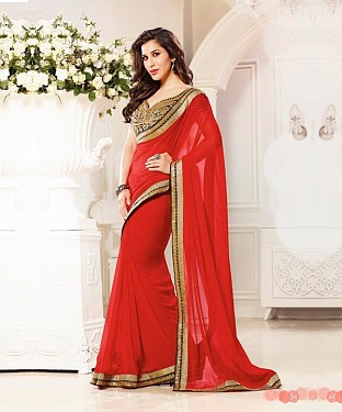 Beautiful Red Embroidery Georgette Saree @ Rs864.00
