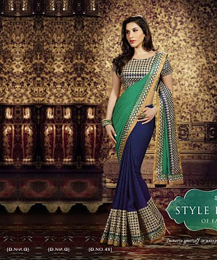 Beautiful Multi-Coloured Embroidery Georgette Saree @ Rs1051.00
