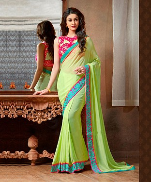 Beautiful Green Embroidery Georgette Saree @ Rs988.00