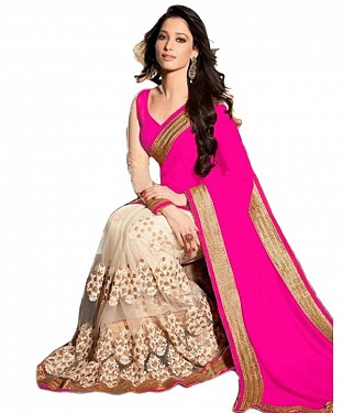 Beautiful Pink Embroidery Georgette Saree @ Rs864.00