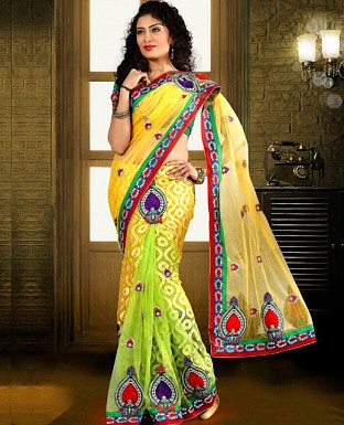 Heavy Embroidered Brasso Lehenga Saree with Net Pallu@ Rs.2009.00