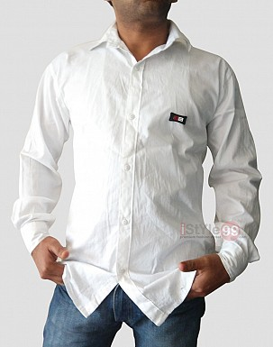 Men White Slim Fit Casual Shirt @ Rs463.00