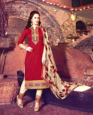 Designer Brasso Cotton  Suit with Dupatta Buy Rs.567.00