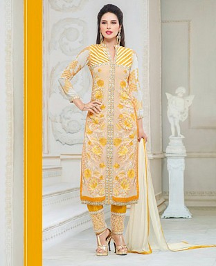 Faux Georgette Embroidered Semi Stitched Suit@ Rs.1750.00