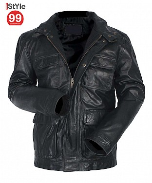 Leather Black Jacket @ Rs6587.00