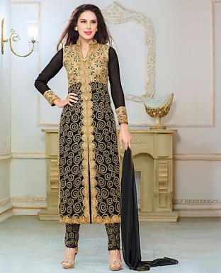 Faux Georgette Embroidered Semi Stitched Suit Buy Rs.1750.00
