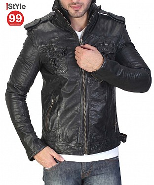 Black Leather Jacket @ Rs6896.00