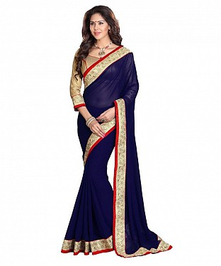 Beautiful Blue Embroidery Georgette Saree @ Rs741.00