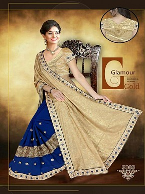 New Blue & Golden Sarees @ Rs1853.00