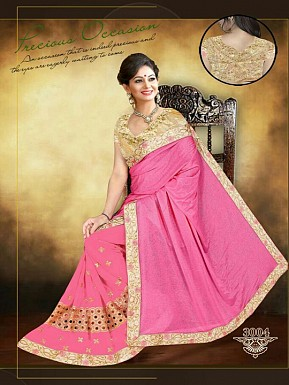 New Pink & Golden Sarees @ Rs1853.00