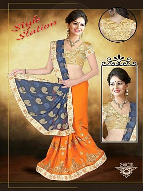 Orange & Gray Sarees Buy Rs.1853.00