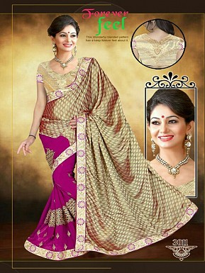 Dark Pink & Golden Sarees @ Rs1853.00