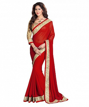 Beautiful Red Embroidery Georgette Saree@ Rs.803.00
