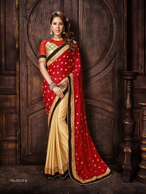 BEIGE & RED SAREE @ Rs2658.00