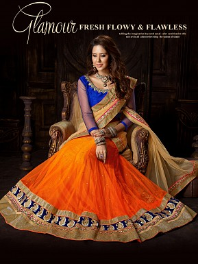 ORANGE BLUE LEHENGA @ Rs4388.00