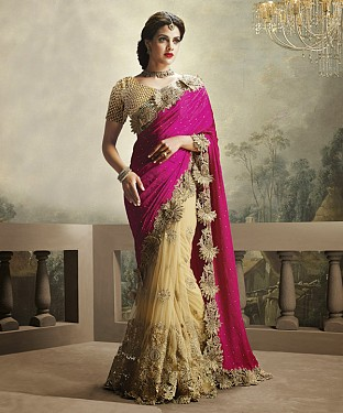 Beautiful Pink and Gold Embroidery Net  Saree @ Rs1484.00