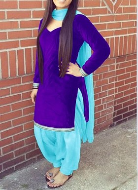 Designer blue velvet patiyala suit @ Rs1235.00