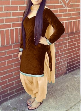 designer brown colour velvet patiyala suit @ Rs1235.00