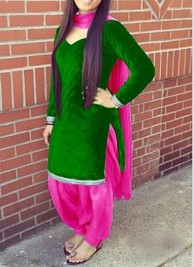Designer green velvet patiyala suit @ Rs1235.00