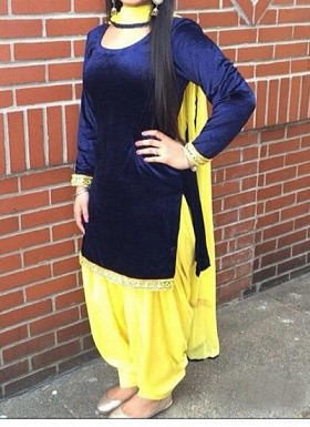 Designer Navy blue velvet patiyala suit @ Rs1235.00