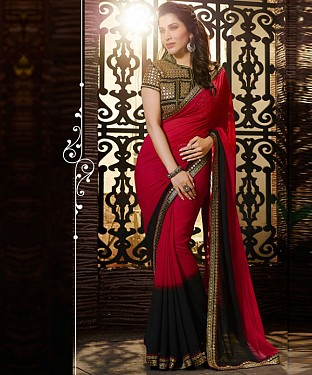 Beautiful Red and Black Embroidery Georgette Saree @ Rs1208.00