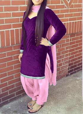 Designer Purpel velvet patiyala suit @ Rs1235.00