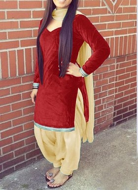 Designer red velvet patiyala suit @ Rs1235.00