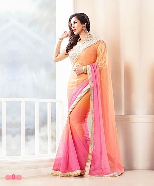 Beautiful Light orange and Pink Embroidery Georgette Saree @ Rs988.00