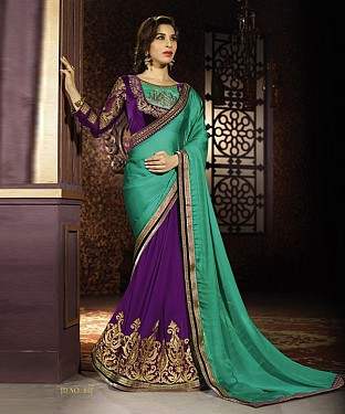 Beautiful Green and Voilet Embroidery Georgette Saree @ Rs1482.00