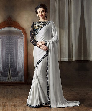 Beautiful Grey Embroidery Georgette Saree @ Rs989.00
