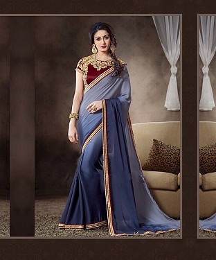 Beautiful Grey and Nevyblue Embroidery Georgette Saree @ Rs1088.00