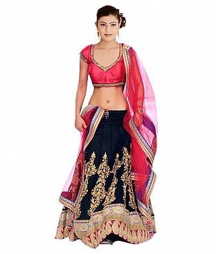 Stylesensus Black Faux Georgette Lehenga @ Rs3497.00