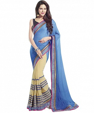 Beautiful Blue and Beige Embroidery Georgette Saree @ Rs1112.00