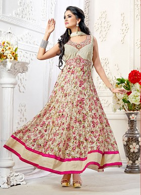 Off White And Pink Designer And Flowed Printed Net Anarkali Suits @ Rs1050.00
