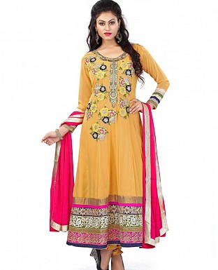 New Beautiful Fancy Yellow Color Semi Stiched Anarkali suit @ Rs1422.00