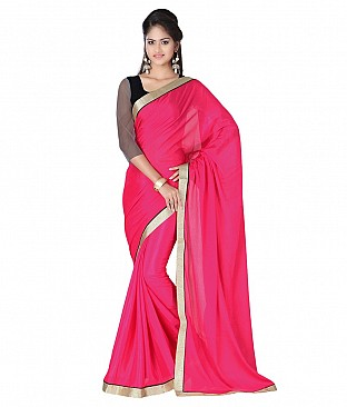 Style Sensus Pink Faux Georgette Saree @ Rs1456.00