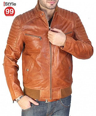 Tan Leather Jacket @ Rs6690.00