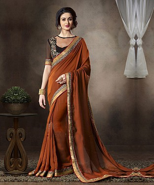 Beautiful Brown Embroidery Georgette Saree @ Rs1050.00