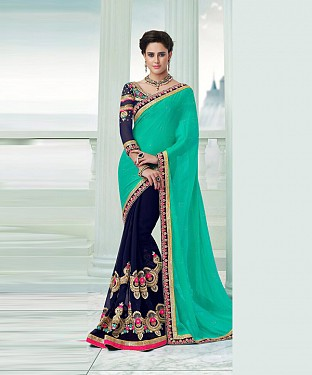 Beautiful Green and Nevyblue Embroidery Georgette Saree @ Rs1482.00